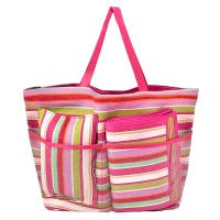 Пъстра плажна чанта на цикламени райета HatYou с постелка и възглавница комплект