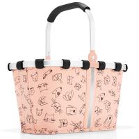Практична детска чанта Reisenthel Carrybag XS Cats and Dogs в цвят роза