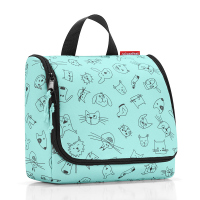 Тоалетна чанта за принадлежности Reisenthel Toiletbag Cats and Dogs, в цвят мента