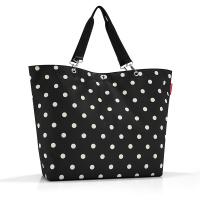 Голяма дамска чанта за пазар в черен цвят на точки Reisenthel Shopper XL, black