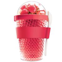 Охлаждаща двустенна чаша Asobu Chill Yo 2 Go с лъжичка, в червен цвят