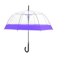 Дамски прозрачен автоматичен чадър Perletti със стилен лилав кант