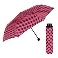 Дамски розов сгъваем дамски чадър на точки Perletti Chic