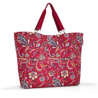 Голяма дамска чанта за пазар в червен цвят на цветя Reisenthel Shopper XL, paisley ruby