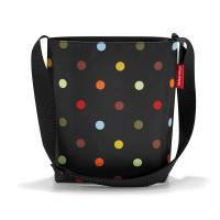 Практична черна дамска малка чанта на цветни точки за през рамо Reisenthel Shoulderbag S, dots