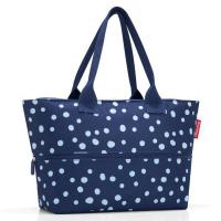 Тъмносиня чанта за плажа, за пазаруване или ежедневието с разширение Reisenthel Shopper e1 spots navy