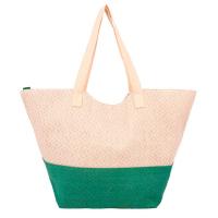 Чанта за плажа в зелено HatYou, с лъскав ефект