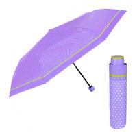 Лилав дамски неавтоматичен чадър на точки Perletti