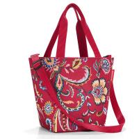 Удобна малка дамска червена чанта на цвятя Reisenthel Shopper XS, paisley ruby