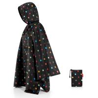 Дамски джобен дъждобран пончо в черно на точки Reisenthel Mini maxi poncho, dots