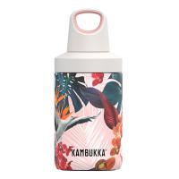 Малка розова термо бутилка Kambukka Reno с флорални елементи, 300мл