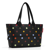 Черна чанта за плажа, за пазаруване или ежедневието с разширение Reisenthel Shopper e1 dots