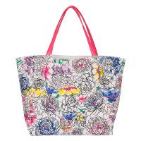 Бяла плажна чанта с пъстри цветя HatYou