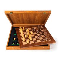Ръчно изработен класически шах в луксозна кутия и модерни фигури Manopoulos