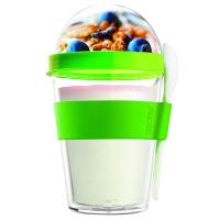 Стилна двустенна чаша Asobu Yo 2 Go с лъжичка 360мл, в зелен цвят