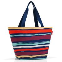Практична дамска чанта за пазар на цветно райе Reisenthel Shopper М, artist stripes