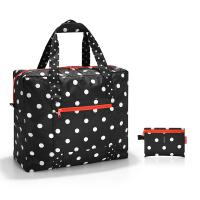 Портативна сгъваема черна на точки пътна чанта Reisenthel Mini maxi touringbag, mixed dots