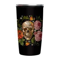 Черна бамбукова термо чаша с черепи Chic-Mic, 420мл