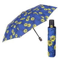 Син дамски автоматичен чадър на жълти цветя Perletti Chic