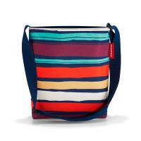 Практична дамска малка чанта за през рамо цветно райе Reisenthel Shoulderbag S, artist stripes