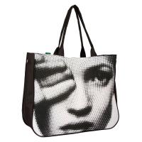 Черно-бяла дамска плажна чанта с фотография HatYou