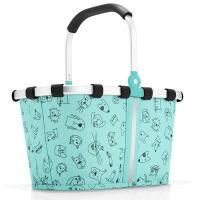 Практична детска чанта Reisenthel Carrybag XS Cats and Dogs в цвят мента