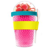 Охлаждаща двустенна чаша Asobu Chill Yo 2 Go с лъжичка, в розов цвят