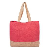 Плетена плажна чанта HatYou в цвят корал