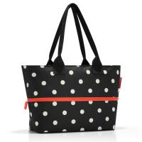 Черна чанта за плажа, за пазаруване или ежедневието с разширение Reisenthel Shopper e1 mixed dots