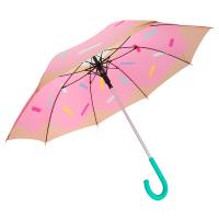 Дамски розов чадър с дизайн на поничка и автоматично отваряне Fisura