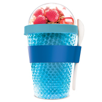 Охлаждаща двустенна чаша Asobu Chill Yo 2 Go с лъжичка, в син цвят
