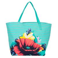 Плажна чанта в тюркоазен цвят HatYou с дизайн на цветя