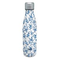 Дамски бял термос на сини цветя Vin Bouquet Nerthus, 0.5л
