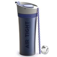 Удобна двустенна термо чаша Asobu Fresh N Go с вакуумна изолация и Аir Pump система 500мл, в син цвят
