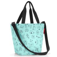 Удобна малка детска чанта в цвят мента Reisenthel Shopper XS Kids Cats and Dogs, Mint