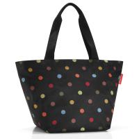 Практична дамска чанта за пазар в черен цвят на цветни точки Reisenthel Shopper М, dots