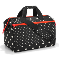 Голяма черно-бяла дамска пътна чанта на точки Reisenthel Allrounder L pocket, mixed dots