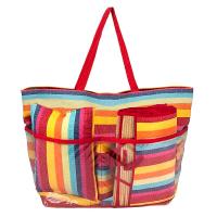 Шарена плажна чанта на райета HatYou с постелка и възглавница комплект