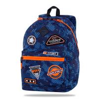 Синя раница с оранжеви ципове CoolPack CROSS Badges BNavy