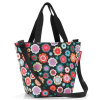 Удобна малка черна дамска чанта на цветя Reisenthel Shopper XS, happy flowers