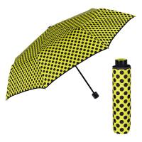 Жълт сгъваем дамски чадър на точки Perletti Chic
