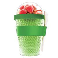 Охлаждаща двустенна чаша Asobu Chill Yo 2 Go с лъжичка, в зелен цвят
