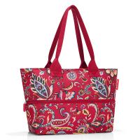 Червена чанта за плажа на цветя, за пазаруване или ежедневието с разширение Reisenthel Shopper e1, Paisley ruby