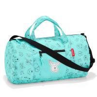 Удобна детска пътна или спортна чанта за момче в ментов цвят Reisenthel mini maxi dufflebag S, cats and dogs mint