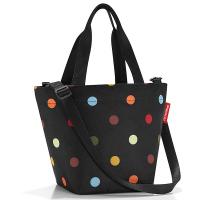 Удобна малка черна дамска чанта на цветни точки Reisenthel Shopper XS, dots