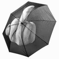 Сгъваем чадър в сиво и черно с интересен дизайн