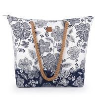 Чанта за плаж в тъмносиньо и бяло на цветя Gabol Habana