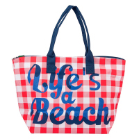 Стилна дамска плажна чанта каре в червено и бяло HatYou