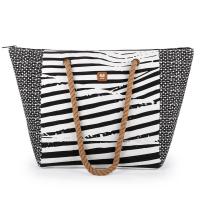 Памучна черно-бяла плажна чанта Gabol Bora