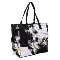 Чанта за плаж с флорални елементи HatYou в черно и бяло